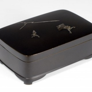 HUMEROUS JAPANESE SILVER LINED ONLAID BRONZE BOX