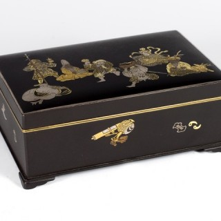 JAPANESE KOMAI STYLE IRON BOX DEPICTING 7 LUCKY GODS