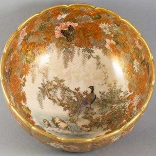 LARGE JAPANESE SATSUMA BOWL COMMISIONED BY THE IKEDA COMPANY