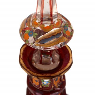 Bohemian ruby cut glass and enamelled antique decanter