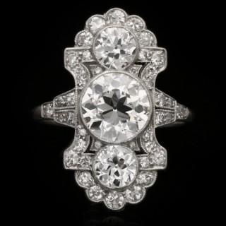 Ornate diamond ring, circa 1915.