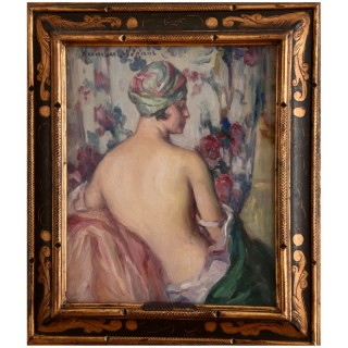 Art Deco Painting, Nude With Turban.