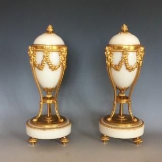 Louis XVI style Ormolu & Marble Cassolettes