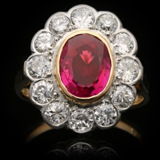 Antique Burmese ruby and diamond cluster ring, English, circa 1910.
