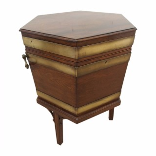 George III Mahogany and Brass Bound Wine Cooler