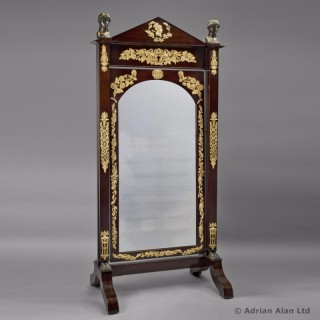 Empire Gilt and Patinated Bronze Mounted Mahogany Cheval Mirror