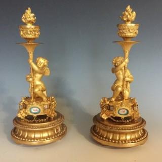 Napoleon III Gilt Bronze & Porcelain Cherub Candlesticks