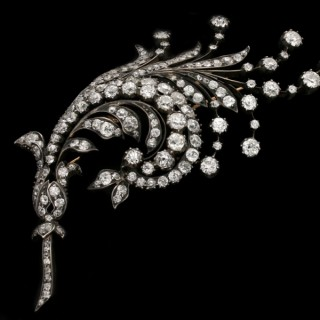 Antique diamond spray brooch, Germany, circa 1880.