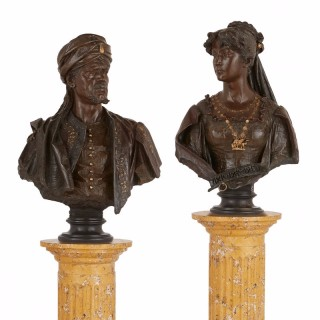 Pair of bronze busts of Othello and Desdemona by Garella