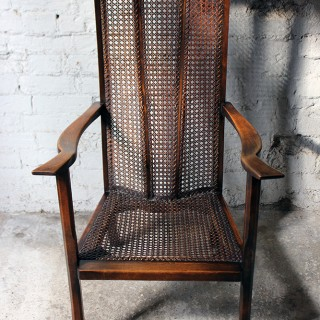 A Good Quality Early 20thC Arts & Crafts Period High-Back Oak & Wicker Upholstered Open Armchair c.1900-15