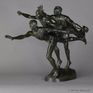 'Au But' (To the Goal) - Patinated Bronze Sculpture