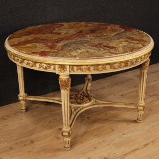 20th Century Italian Lacquered And Gilt Round Table In Louis XVI Style