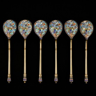 SET OF SIX RUSSIAN GILDED SILVER AND ENAMEL SPOONS