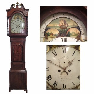 George III Mahogany and Oak Grandfather Clock by John Beecham, Newcastle