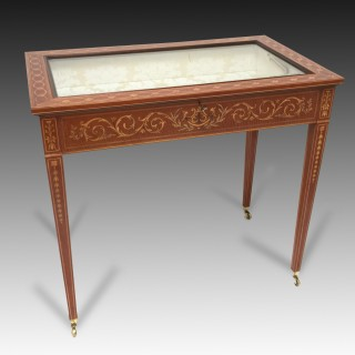 Marquetry Inlaid Mahogany Bijouterie Table Display Probably by 'Edwards & Roberts'