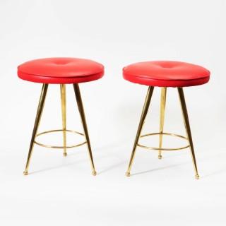 A pair of Italian mid century brass stools