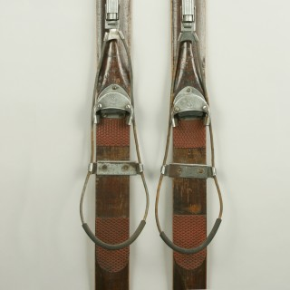 Antique Ash Skis with Unique Safety Bindings.