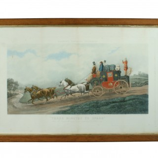 ANTIQUE COACHING PRINT 'THREE MINUTES TO SPARE', T. N. H. WALSH.