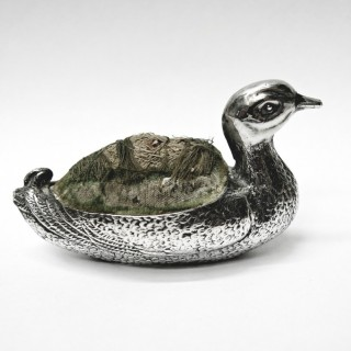 Antique Silver Duck Pin Cushion