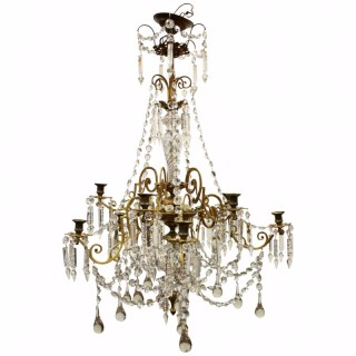 Ormolu Mounted Brass and Crystal Chandelier