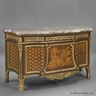 Louis XVI Style Marquetry Commode After Jean Henri Riesener