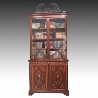 Maples & Co Mahogany Marquetry Inlaid Bookcase