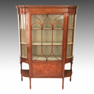 Edwardian Satinwood & Marquetry Inlaid Display Cabinet