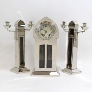 Silver finish Clock Garniture set by WMF