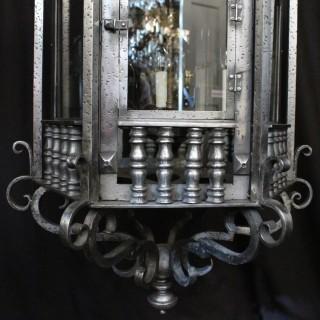 English Triple Light Gothic Antique Lantern
