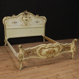 20th Century Venetian Lacquered Double Bed
