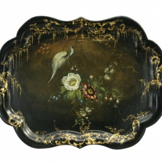 ANTIQUE BLACK LACQUER TRAY