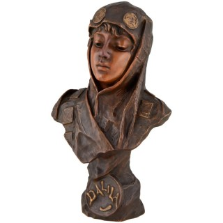 Dalila, Art Nouveau Orientalist Bronze Bust Of A Girl