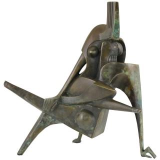 The Kiss, Modern Bronze Sculpture Embracing Couple