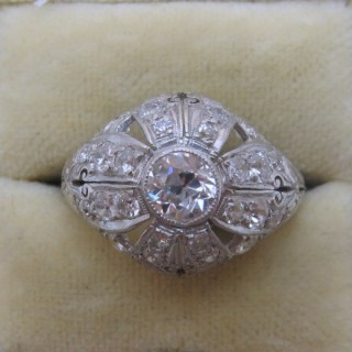 Art Deco Diamond Bombé Platinum Ring