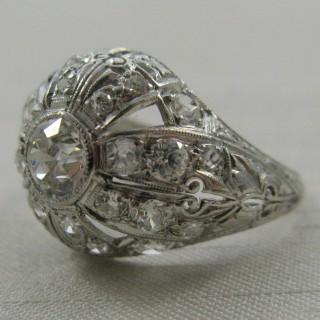 Art Deco Diamond Bombé Platinum Ring