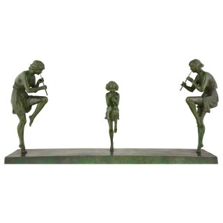 Art Deco Bronze Sculpture Of 3 Female Flute Players.
