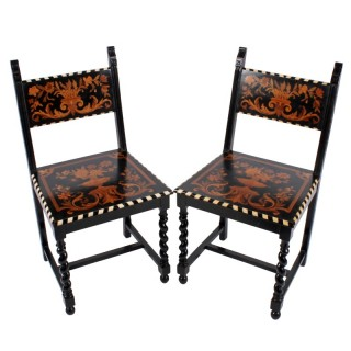 Pair of Marquetry Inlaid Chairs
