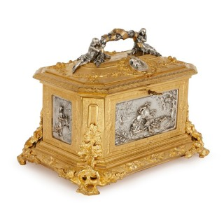 Silvered and gilt bronze antique French casket