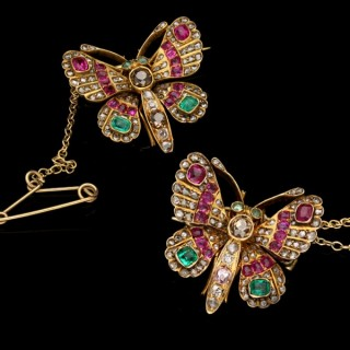 A pair of Victorian gem set butterfly brooches, circa 1890.