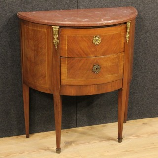 20th Century French Demi Lune Dresser With Marble Top