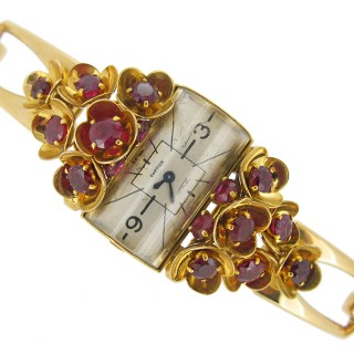 Cartier ruby set watch, French, circa 1941.