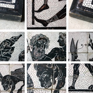 A Very Decorative Group of Four Large Mid 20thC Italian Hand-Painted Tile Panels Depicting Classical Roman Mosaics c.1940-60