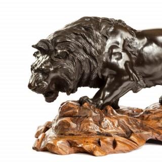 Meiji bronze of a lion
