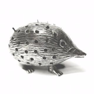 Antique Silver Hedgehog Pin Cushion