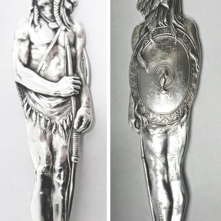 Antique Silver Red Indian Commemorative Spoon