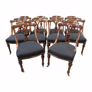 Set of 10 Victorian Mahogany Dining Chairs