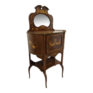 Victorian Marquetry Inlaid Mirror Back Cabinet