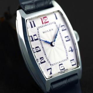 Rolex Silver Tonneau Wristwatch 1926