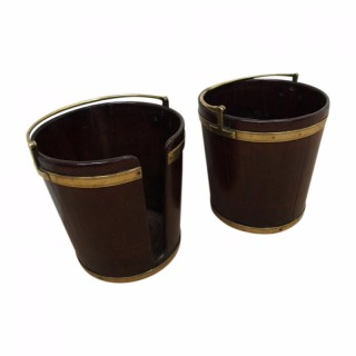 Pair of Brass Bound Mahogany Buckets