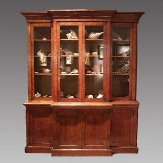 An Early 19th Century Pollard Oak Breakfront Bookcase